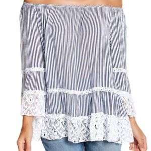 Lola off-the-shoulder striped lace trim blouse